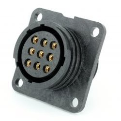 Panel-mounted socket for femalecontact 9pin