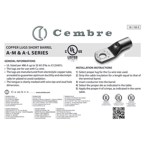 Cembre A03-M3,5 Capicorda 0,25-1,5mm² M3,5