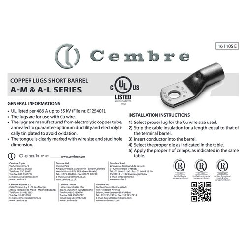 Cembre A03-M5 Capicorda 0,25-1,5mm² M5